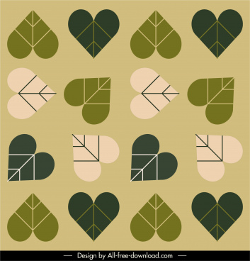 heart leaf pattern classical flat repeating design