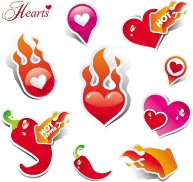 heart love label 02 vector