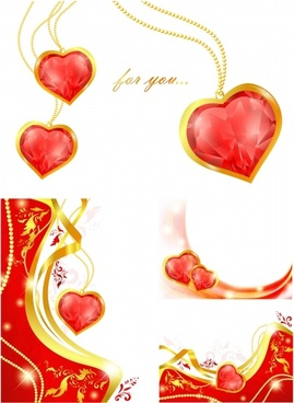 valentines background sparkling golden dynamic red hearts decor