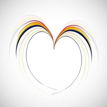 heart rainbow line shape valentine day vector illustration