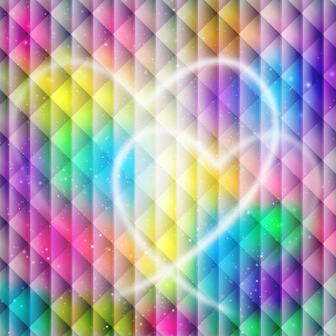 heart shape on rainbow color background