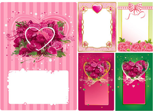 heart shaped rose border frame vector