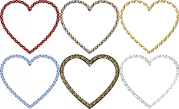 heart shapes vector illustration with colorful chain border