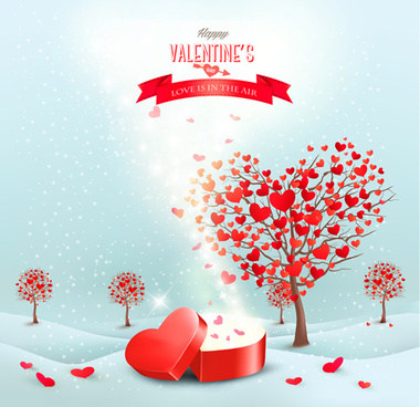 heart tree valentine background art