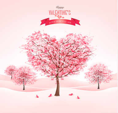 heart tree valentine background art