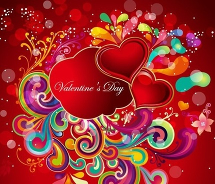 valentines background colorful curves red hearts decoration