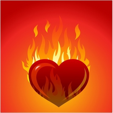 Heart with flames