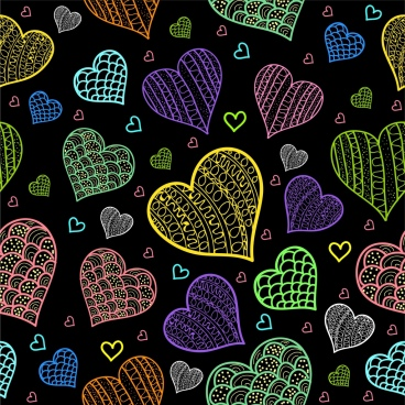 hearts background dark multicolored repeating sketch