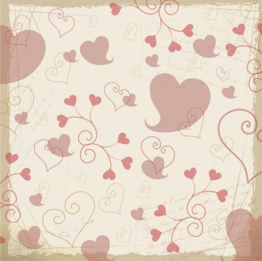 hearts background repeating classical sketch