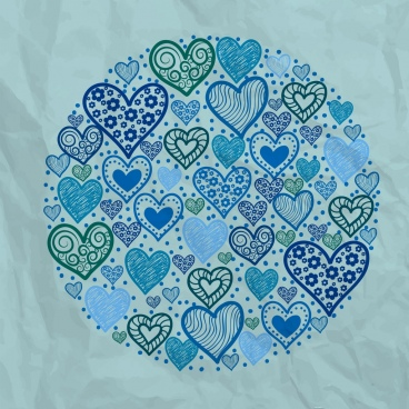 hearts background repeating design round layout