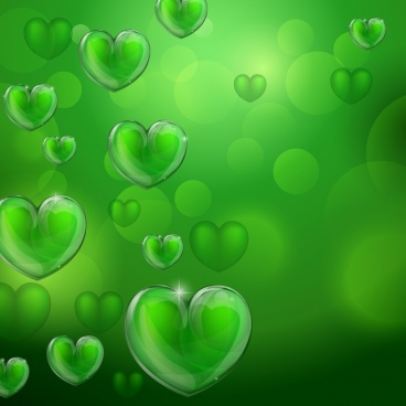 hearts background shiny bokeh green design
