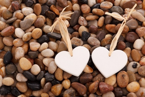 hearts on pebbles