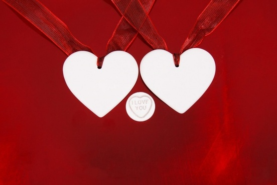 hearts on red background