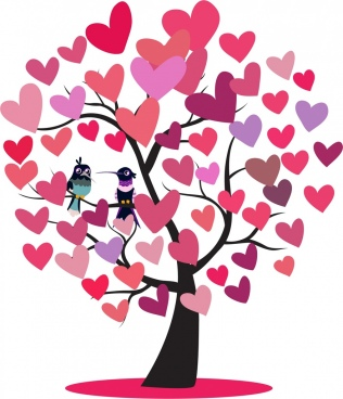 hearts tree icon woodpeckers couple decoration
