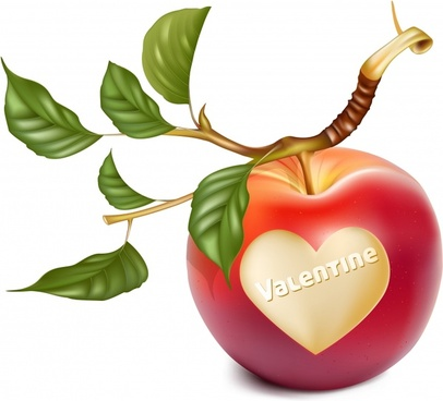 valentine background apple heart decor colorful contemporary 3d