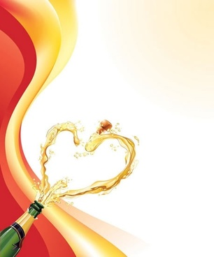 heartshaped champagne vector