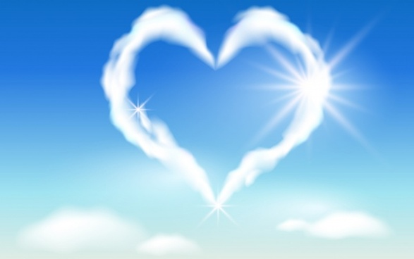 love background heart shaped cloud sketch modern design