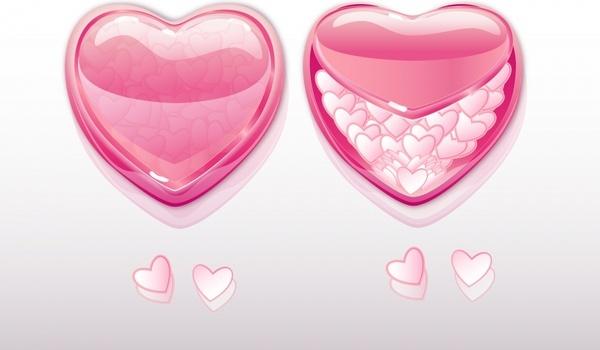 love background bright shiny hearts modern 3d