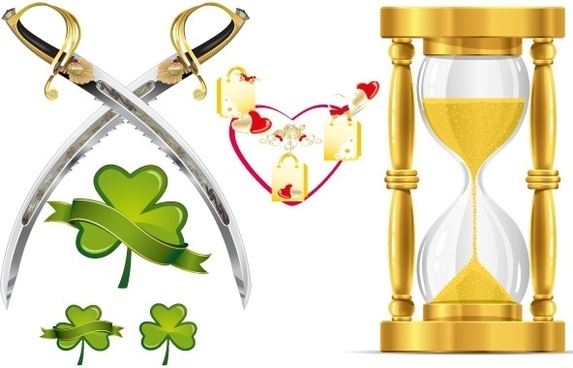 HEART-SHAPED LEAVES AND FUNNEL-KNIFE VECTOR MATERIAL