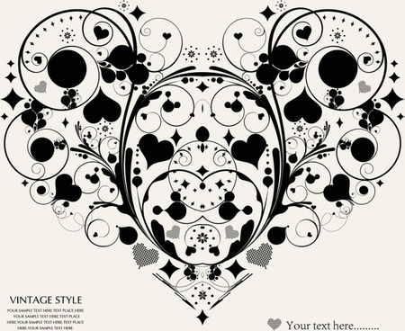 hearts background vintage decor symmetric layout
