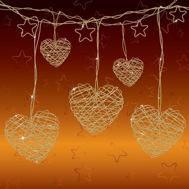 valentine background hanging hearts stars shapes messy sketch