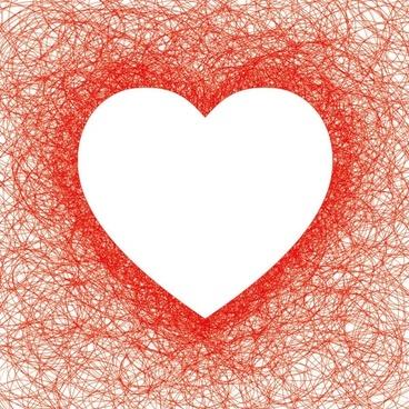 heartshaped red line vector