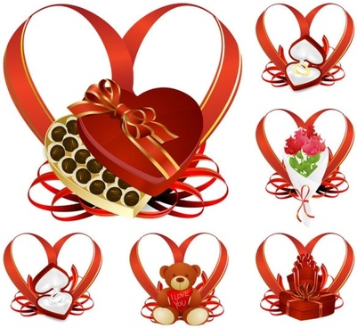 heartshaped ribbon with a gift vector