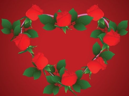 heartshaped rose border clip art