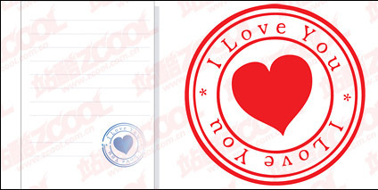 Heart-shaped seal material vector