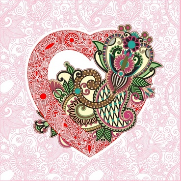 heartshaped valentine39s day card line art vector