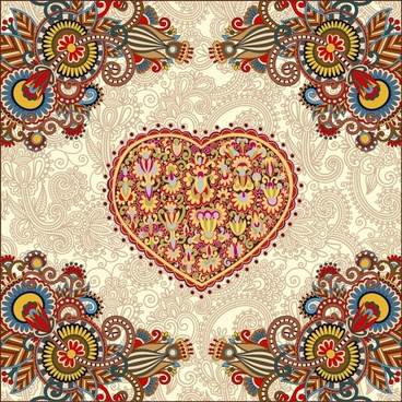 heartshaped valentine39s day card vector line art corner