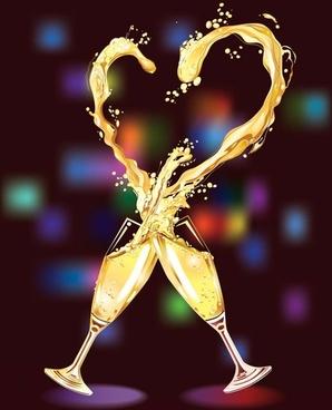 heartshaped vector 3 champagne