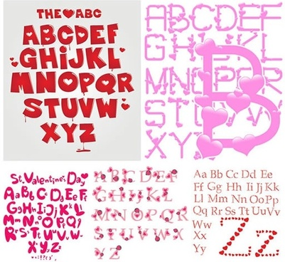 alphabet backgrounds heart shaped decor modern messy layout