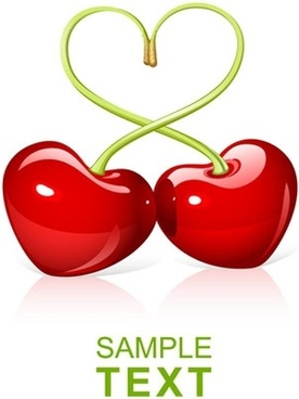 heartshaped vector cherry
