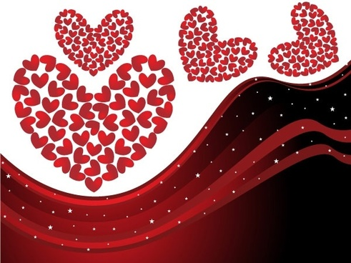 heart-shaped vector dynamic lines background