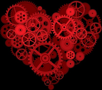 valentine background gear icons heart layout dark red