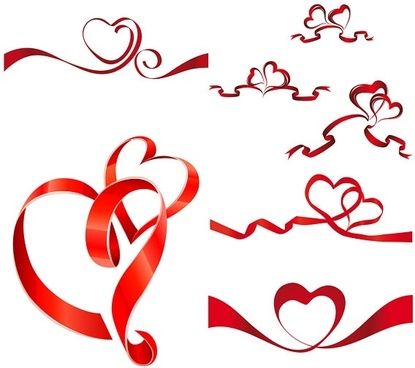 heartshaped vector ribbon