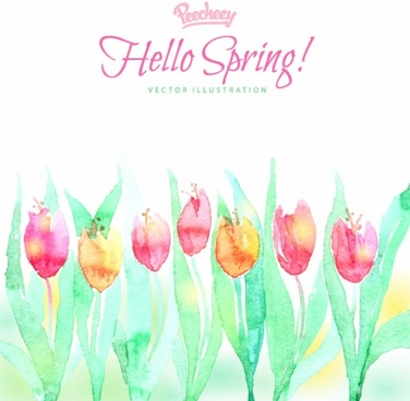 heelo spring watercolor illustration