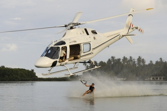 helicopter man water