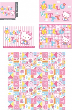 kitty background templates cute colorful flat decor