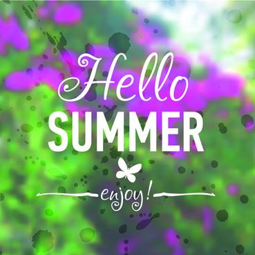 hello summer blurred background vector