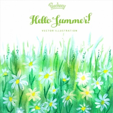 hello summer watercolor illustration