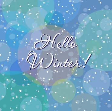 hello winter background bokeh snow falling style