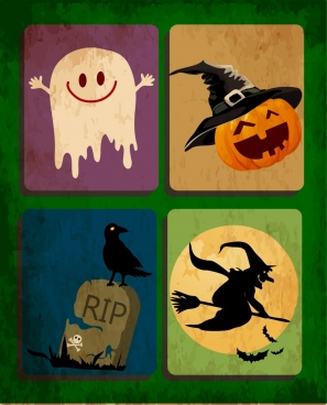helloween design elements ghost pumpking tomb wizard icons