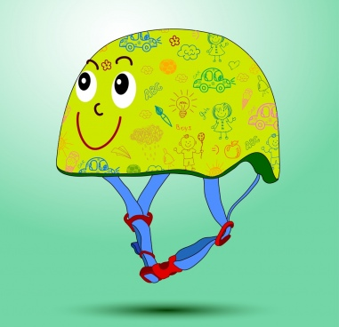 helmet icon design cute stylized cartoon colorful design