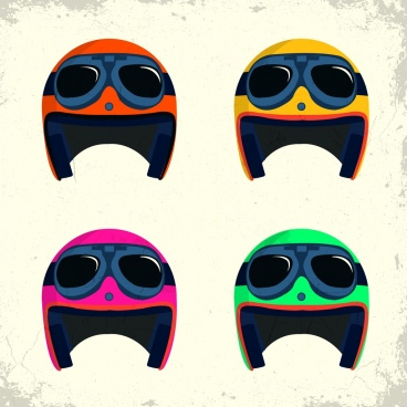 helmet icons sets funny multicolored design