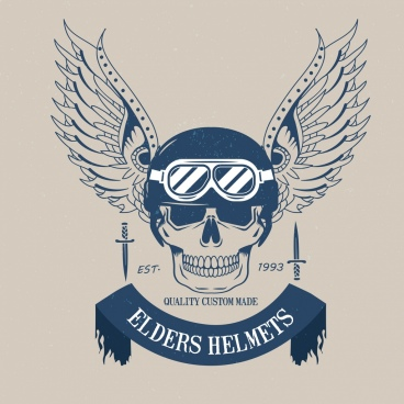 helmet logo design skull wings icon dark blue