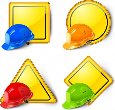 labor safety icons helmet signboard decor shiny colors