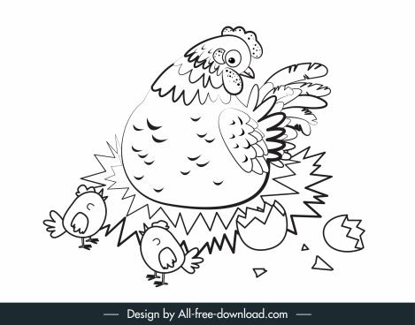 hen chicks painting flat handdrawn sketch