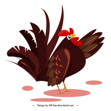 hen icon colored classic design cartoon sketch